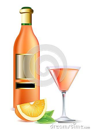 flasche auf wein orange und cocktail lizenzfreie stockbilder bild 11983619. Black Bedroom Furniture Sets. Home Design Ideas