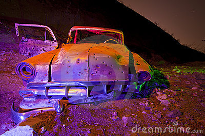 Flash Lit Old Chevy Car