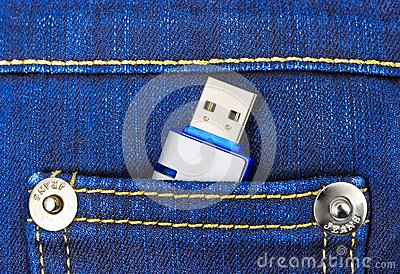 Flash memory in jeans pocket