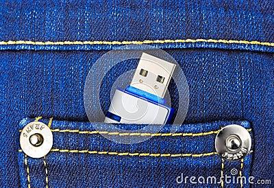 Flash memory in jeans pocket