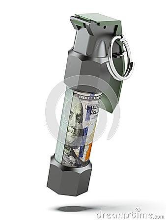 Flashbang Grenade with stack of dollar bills