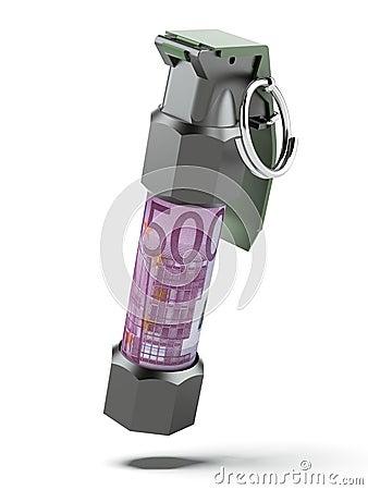 Flashbang Grenade with stack of euro bills