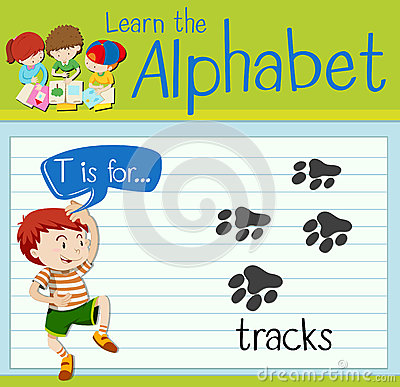 Flashcard letter T is for tracks Vector Illustration