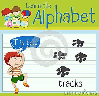Flashcard letter T is for tracks Vector Illustration