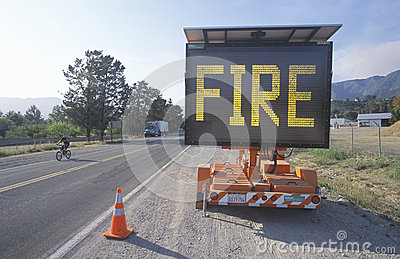 Flashing highway sign Editorial Stock Photo