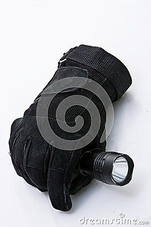 Flashlight and glove