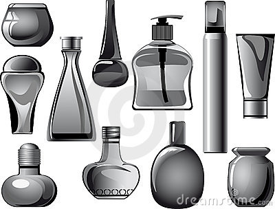 Flasks, jars, containers, tubes of body care produ
