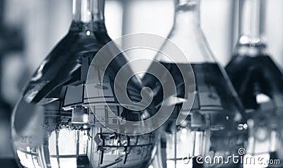 Flasks in laboratory