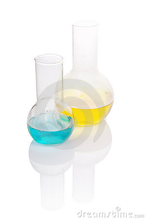 Flasks with yellow and blue chemical liquid