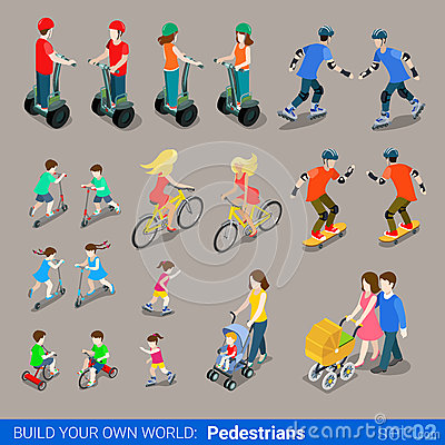 Free Flat 3d Isometric City Pedestrians On Wheel Transport Icon Set Royalty Free Stock Image - 59050116