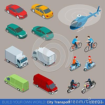 Free Flat 3d Isometric City Transport Icon Set Royalty Free Stock Photos - 59041728