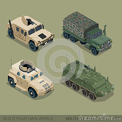 Free Flat 3d Isometric High Quality Military Road Transport Icon Set Royalty Free Stock Images - 59050559
