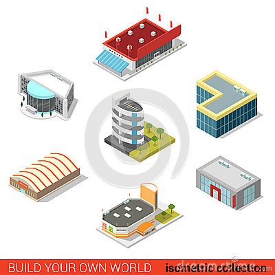 Free Flat 3d Isometric Public Buildings Vector: Ice Arena Mall Cinema Stock Photography - 66180842