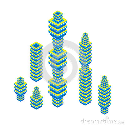 Free Flat 3d Isometric Set Of Skyscraper. Business Center. Isolated On White Background. Royalty Free Stock Photo - 58049875