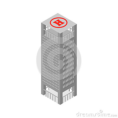 Free Flat 3d Isometric Skyscraper Business Center On The Roof Helipad.  On White Background. Vector Illustration. Royalty Free Stock Image - 57810326