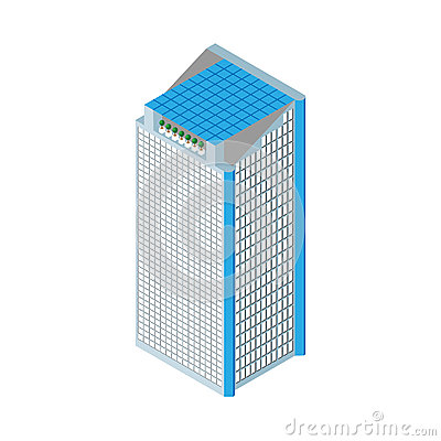 Free Flat 3d Isometric Skyscraper. Business Center. Solar Panels On The Roof And Two Elevators. Isolated On White Background.  For Game Stock Photography - 58049872
