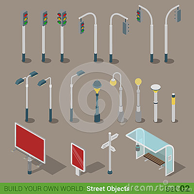 Free Flat 3d Isometric Street Objects Icon Set Stock Photography - 59040632