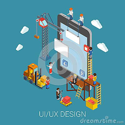 Free Flat 3d Isometric UI/UX Design Web Infographic Concept Royalty Free Stock Photography - 47411217