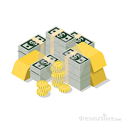 Free Flat 3d Isometric Vector Heap Dollar Banknote Coin Golden Web Royalty Free Stock Photography - 66192717