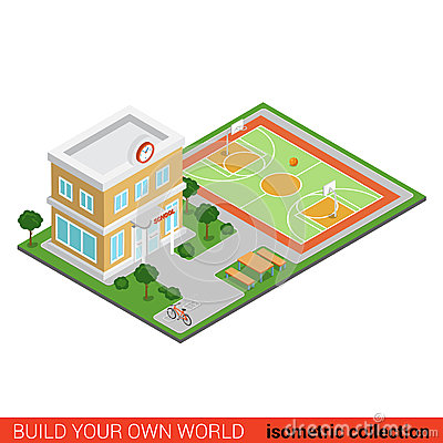 Free Flat 3d Isometric Vector School Building Stadium Info Graphic Stock Images - 66192914
