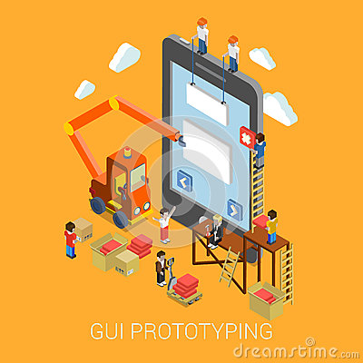 Free Flat 3d Mobile GUI Interface Prototyping Web Infographic Royalty Free Stock Images - 47411629