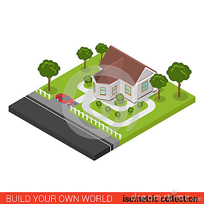 Free Flat 3d Vector Isometric Family House Car Building Block Stock Image - 66192941