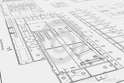 Flat architectural drawing and plan stock illustration for 3 dimensional drawing software