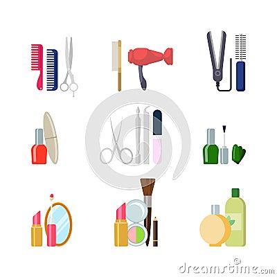 Flat Beauty Shop Salon Web App Icons Makeup Hair Tools