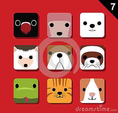 Free Flat Big Animal Faces Application Icon Cartoon Vector Set 7 (Pet) Stock Image - 70002961