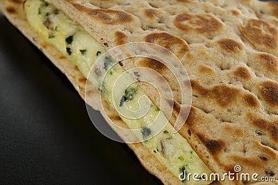 Flat bread egg breakfast sandwich
