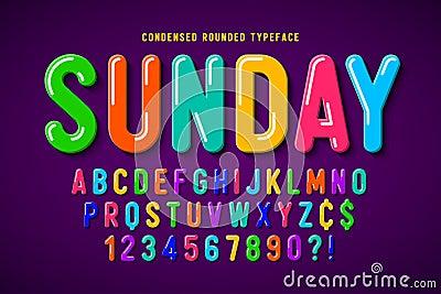 Flat bubble comical font design, colorful alphabet Vector Illustration