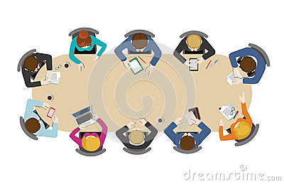Flat business meetings office brainstorm: staff, top view table Vector Illustration