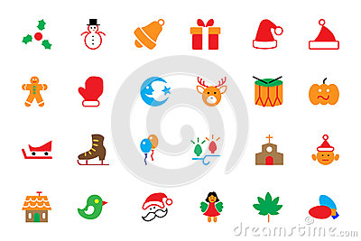 Flat Christmas Vector Icons 2 Stock Photo