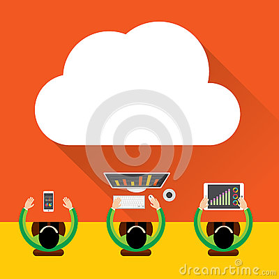 Flat cloud computing background. Data storage network technology, Digital Marketing Concept, Multimedia content and web sites host