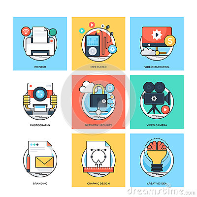 Free Flat Color Line Design Concepts Vector Icons 32 Royalty Free Stock Photo - 84746035