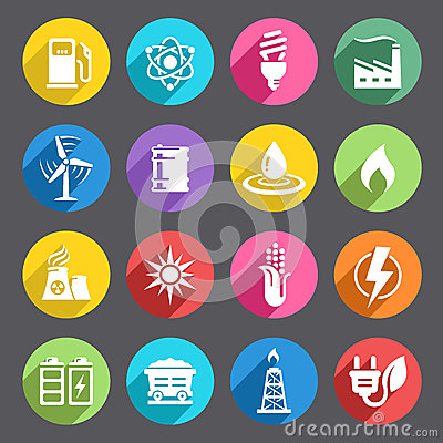 Free Flat Colored Energy Icon Set Royalty Free Stock Images - 55241909