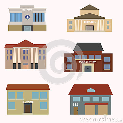 Flat colorful vector city buildings set. Vector Illustration