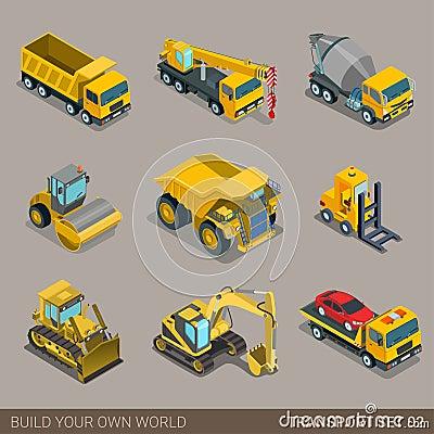 Flat 3d isometric city construction transport icon set