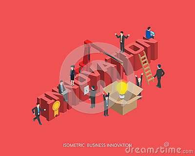 Flat 3d isometric vector illustration innovation concept design, Abstract urban modern style, high quality business series Vector Illustration