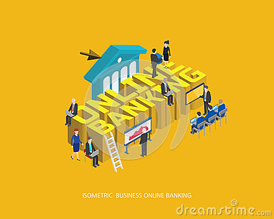 Flat 3d isometric vector illustration online banking concept design, Abstract urban modern style, high quality business series Vector Illustration