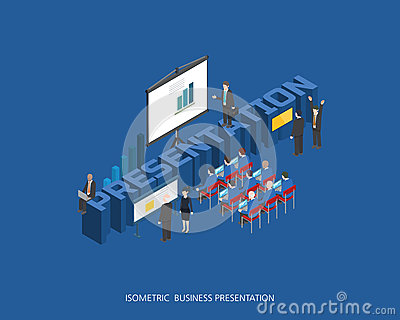 Flat 3d isometric vector illustration presentation concept design, Abstract urban modern style, high quality business series. Cartoon Illustration