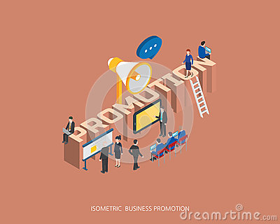 Flat 3d isometric vector illustration promotion concept design, Abstract urban modern style, high quality business series Vector Illustration