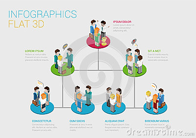 flat 3d isometric web infographic organization chart concept stock vector image 47152106. Black Bedroom Furniture Sets. Home Design Ideas
