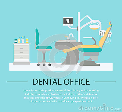 Flat Dentist Office Illustration Stock Vector - Image ...