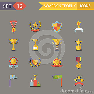 Flat Design Awards Symbols and Trophy Icons