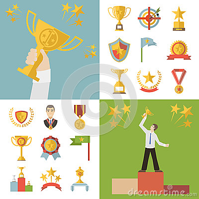 Flat Design Awards Symbols and Trophy Icons Set Vector Illustration