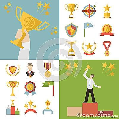 Flat Design Awards Symbols and Trophy Icons Set Vector Illustration