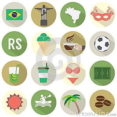 Flat Design Brazil Icons Set