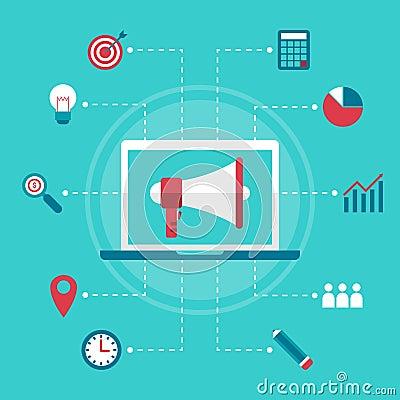 Free Flat Design Business Marketing Megaphone Digital Online Commerce Stock Photo - 138764740