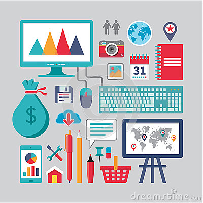 Free Flat Design - Business Vector Icons For Different Creative Works Stock Images - 35765704